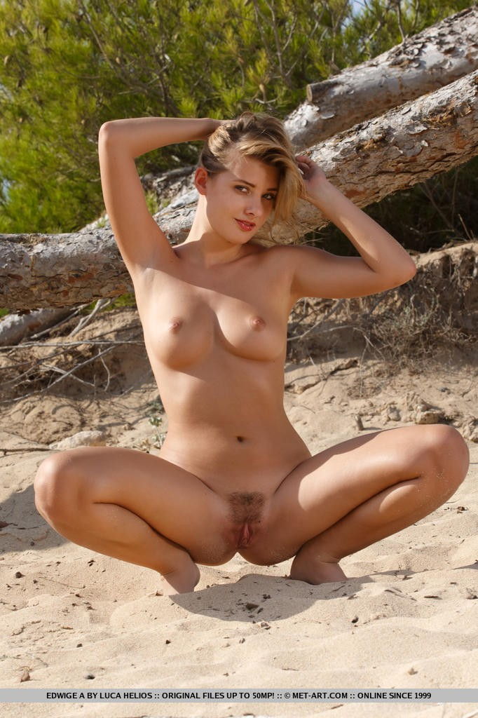 Beautiful Blonde Babes Edwige A on the Beach