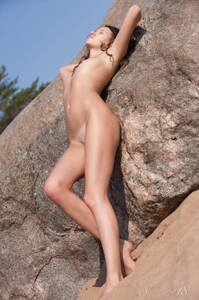 Beautiful Babe Lucy G On The Rock